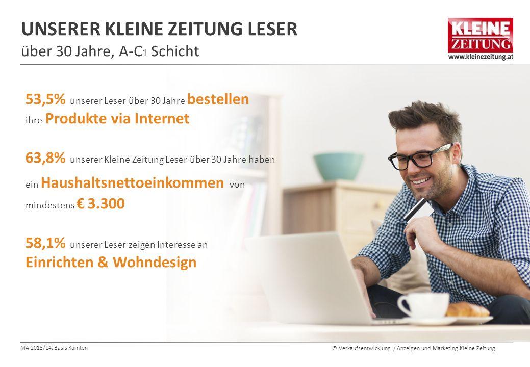 © Verkaufsentwicklung / Anzeigen und Marketing Kleine Zeitung UNSERER KLEINE ZEITUNG LESER über 30 Jahre, A-C 1 Schicht 53,5% unserer Leser über 30 Ja