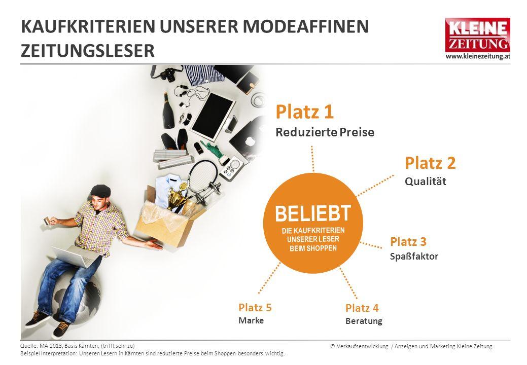 © Verkaufsentwicklung / Anzeigen und Marketing Kleine Zeitung KAUFKRITERIEN UNSERER MODEAFFINEN ZEITUNGSLESER Quelle: MA 2013, Basis Kärnten, (trifft