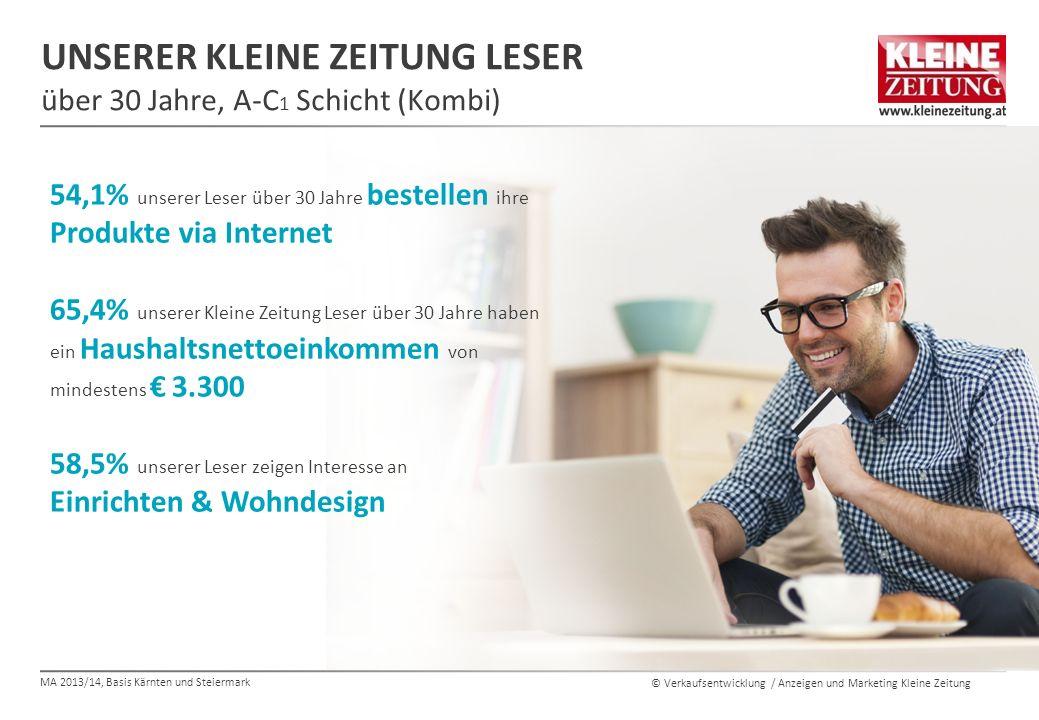 © Verkaufsentwicklung / Anzeigen und Marketing Kleine Zeitung UNSERER KLEINE ZEITUNG LESER über 30 Jahre, A-C 1 Schicht (Kombi) 54,1% unserer Leser üb