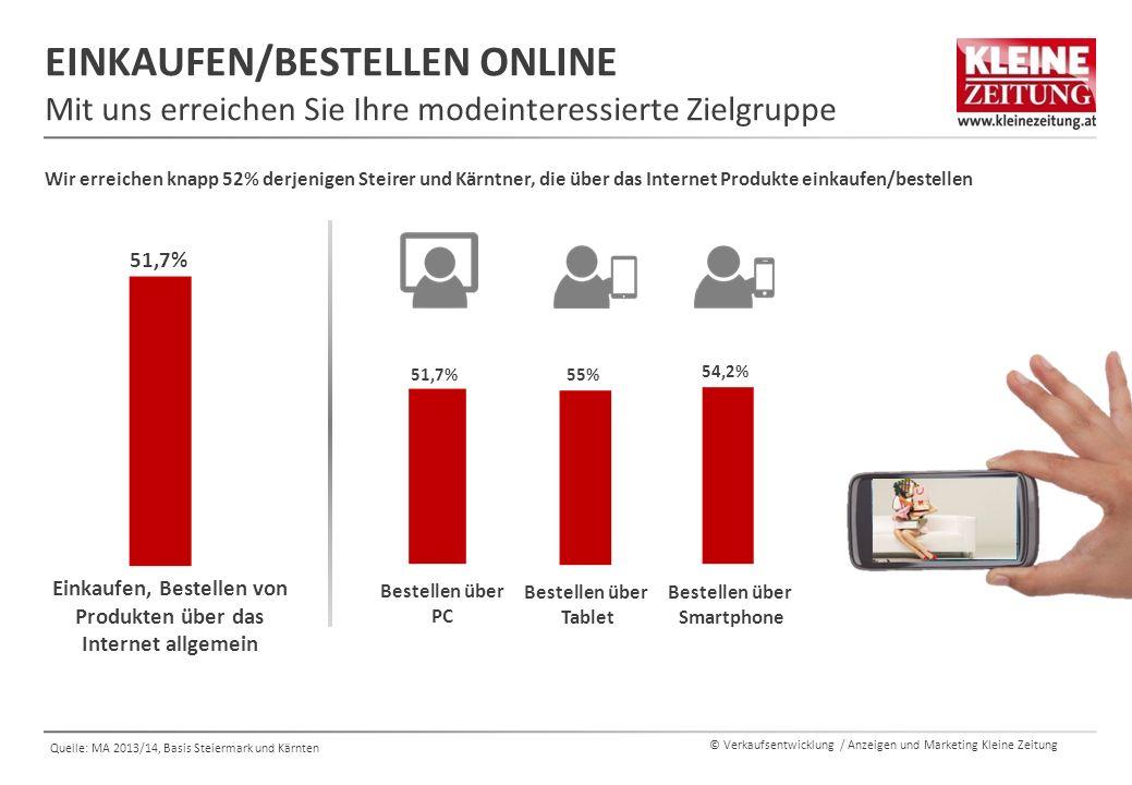 © Verkaufsentwicklung / Anzeigen und Marketing Kleine Zeitung Quelle: MA 2013/14, Basis Steiermark und Kärnten Bestellen über Tablet EINKAUFEN/BESTELL