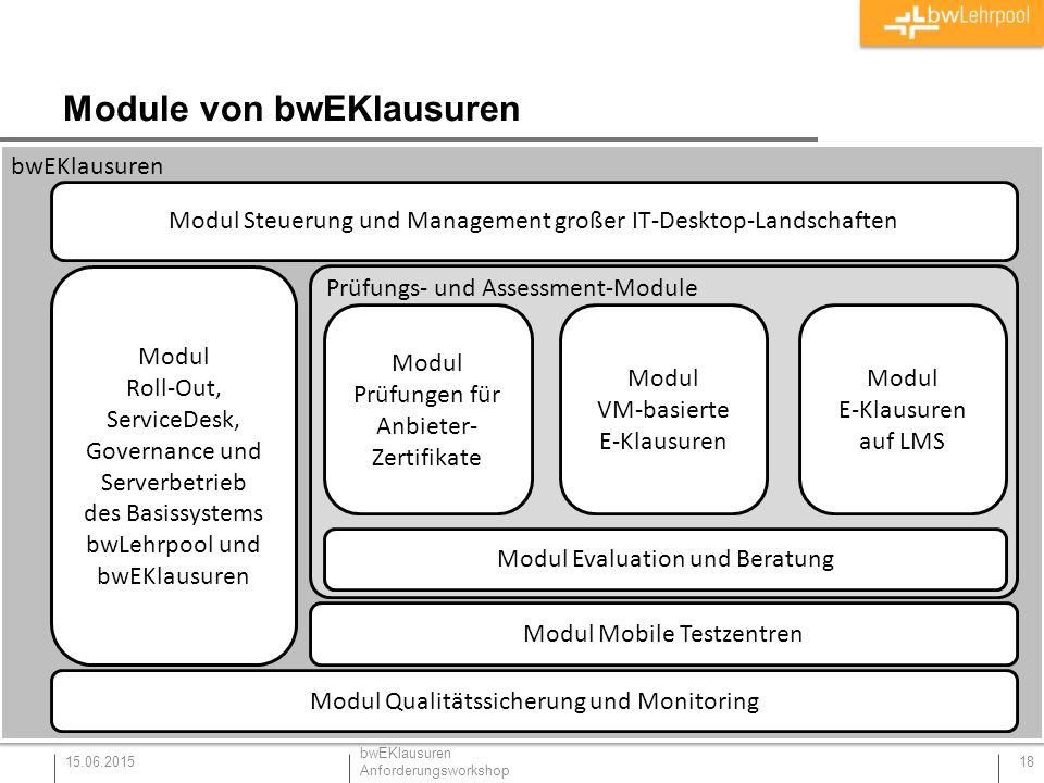 Module von bwEKlausuren 15.06.2015 18 bwEKlausuren Modul Roll-Out, ServiceDesk, Governance und Serverbetrieb des Basissystems bwLehrpool und bwEKlausu