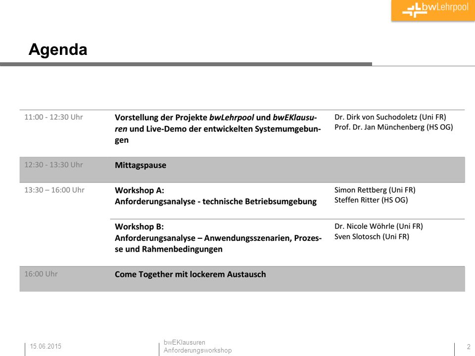 Agenda 15.06.2015 bwEKlausuren Anforderungsworkshop 2