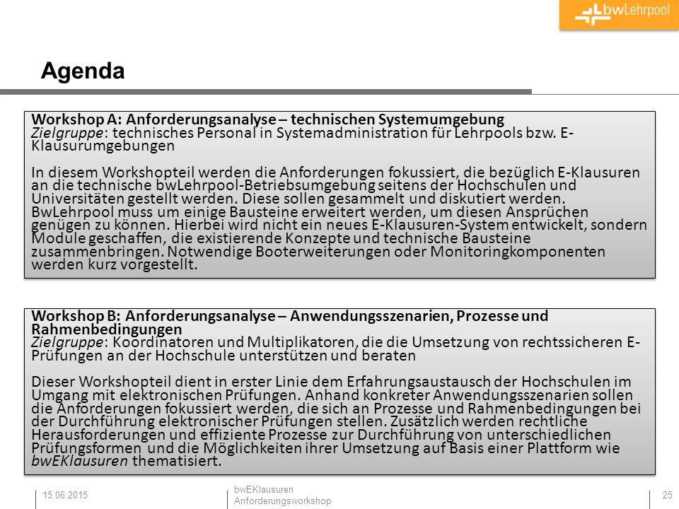 Agenda 15.06.2015 25 Workshop B: Anforderungsanalyse – Anwendungsszenarien, Prozesse und Rahmenbedingungen Zielgruppe: Koordinatoren und Multiplikator