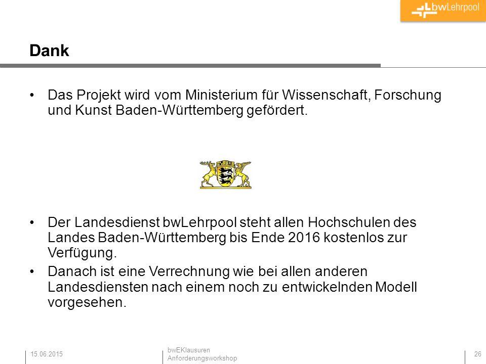 Dank Das Projekt wird vom Ministerium für Wissenschaft, Forschung und Kunst Baden-Württemberg gefördert.