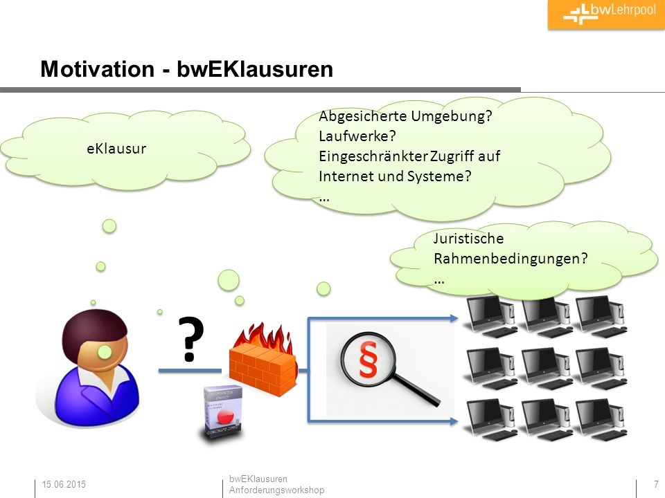 Motivation - bwEKlausuren 15.06.2015 7 eKlausur Abgesicherte Umgebung.