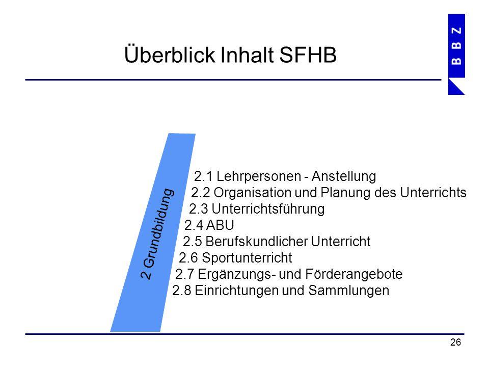 Überblick Inhalt SFHB 27 6 Services 6.1 Notfallorganisationen 6.2 Sekretariate 6.3 Technischer Dienst 6.4 Hausdienst 6.5 Mediothek und Lern-Lounge 6.6 Verpflegung 6.7 Finanz- und Rechnungswesen 6.8 Parkieren von Fahrzeugen