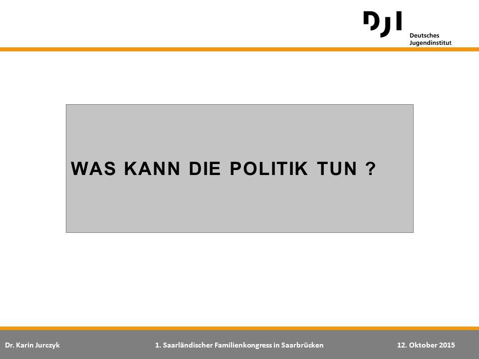 Dr. Karin Jurczyk1. Saarländischer Familienkongress in Saarbrücken12. Oktober 2015 WAS KANN DIE POLITIK TUN ?