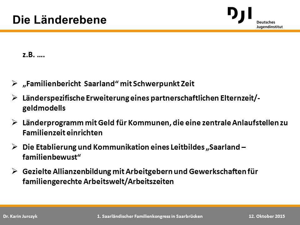 """Dr. Karin Jurczyk1. Saarländischer Familienkongress in Saarbrücken12. Oktober 2015 Die Länderebene z.B. ….  """"Familienbericht Saarland"""" mit Schwerpunk"""