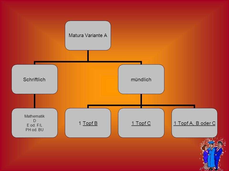 Matura Variante A Schriftlich Mathematik D E od. F/L PH od. BU mündlich 1 Topf BTopf B1 Topf C1 Topf A, B oder C