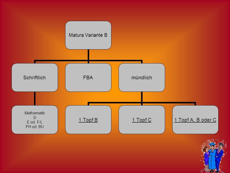 Matura Variante B Schriftlich Mathematik D E od. F/L PH od. BU FBAmündlich 1 Topf B1 Topf C1 Topf A, B oder C