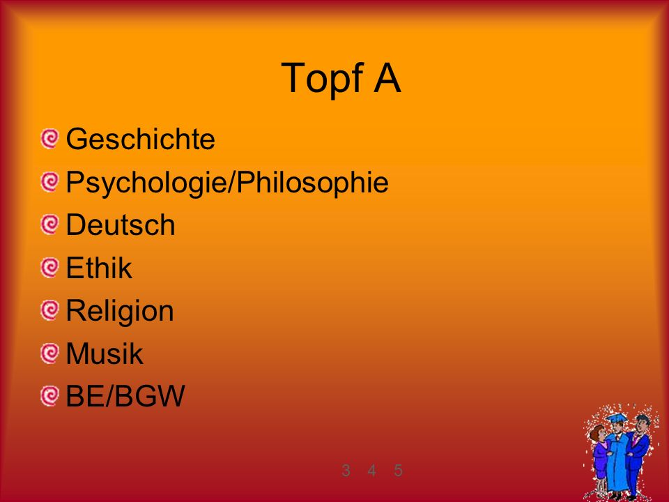 Topf A Geschichte Psychologie/Philosophie Deutsch Ethik Religion Musik BE/BGW 345