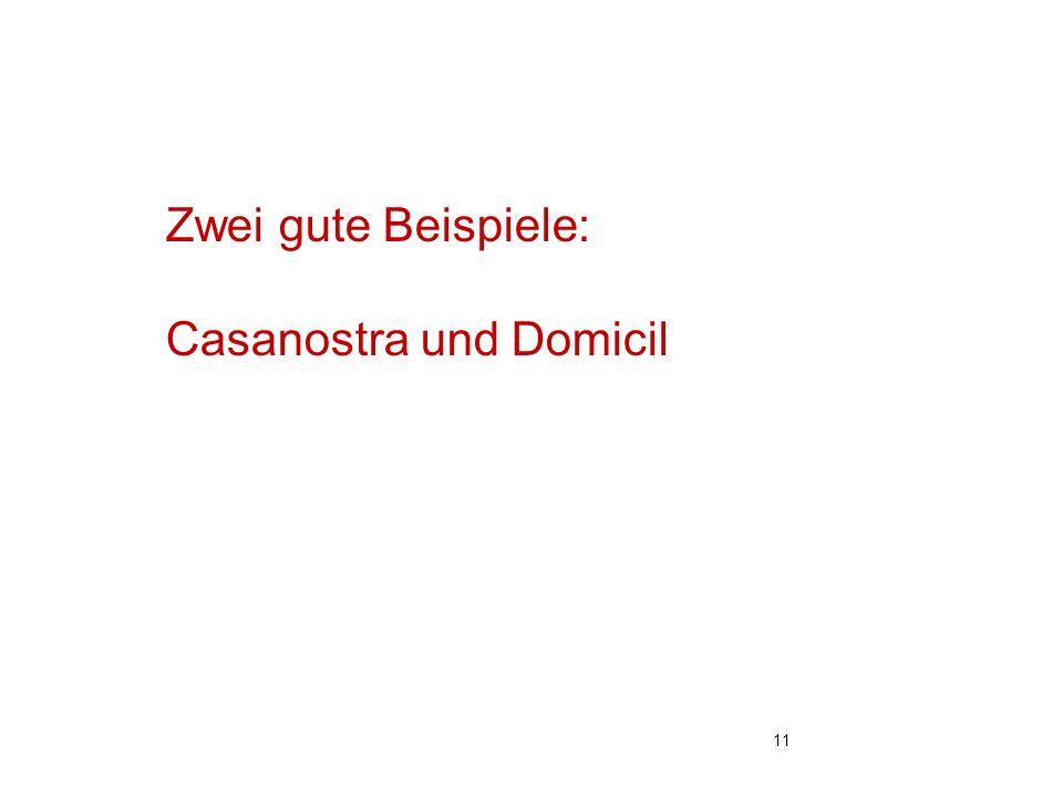 Zwei gute Beispiele: Casanostra und Domicil 11