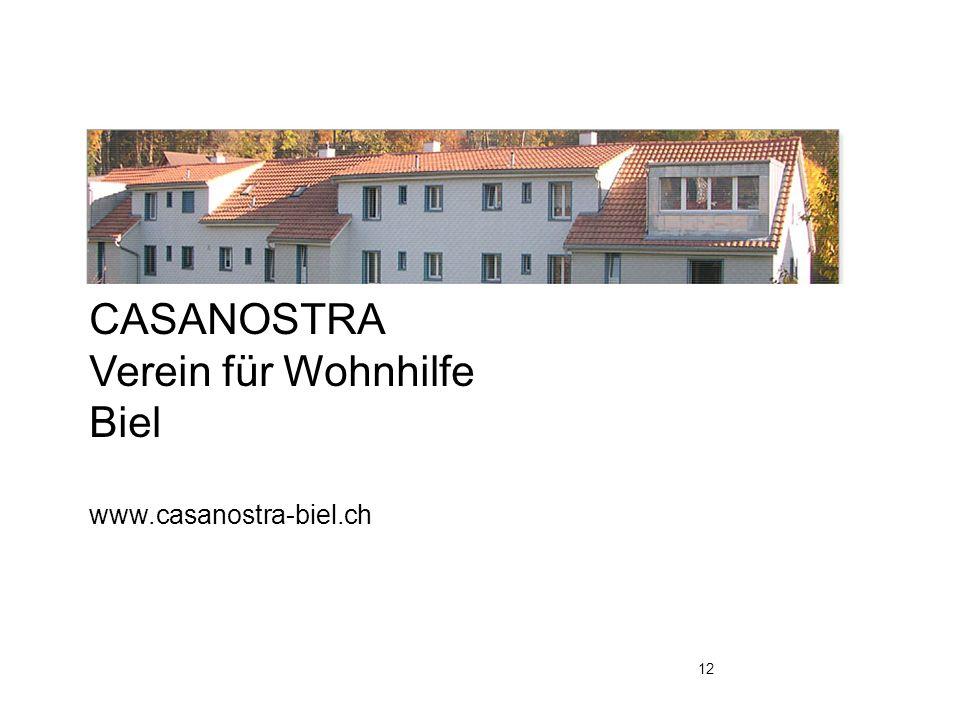 CASANOSTRA Verein für Wohnhilfe Biel www.casanostra-biel.ch 12