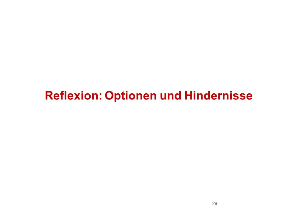Reflexion: Optionen und Hindernisse 28