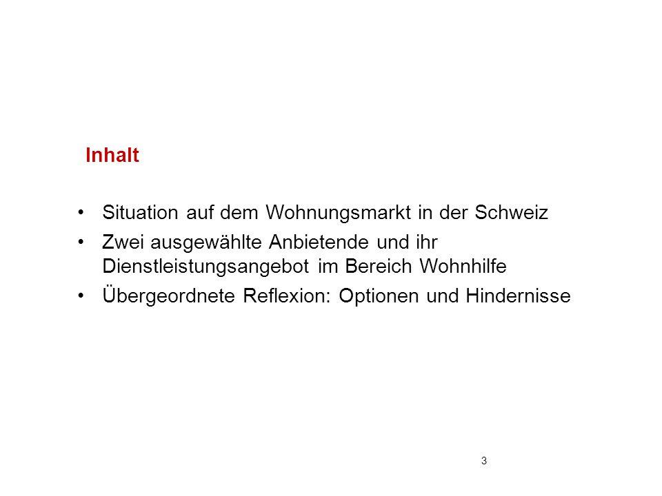 Situation auf dem Wohnungsmarkt in der Schweiz Zwei ausgewählte Anbietende und ihr Dienstleistungsangebot im Bereich Wohnhilfe Übergeordnete Reflexion: Optionen und Hindernisse Inhalt 3
