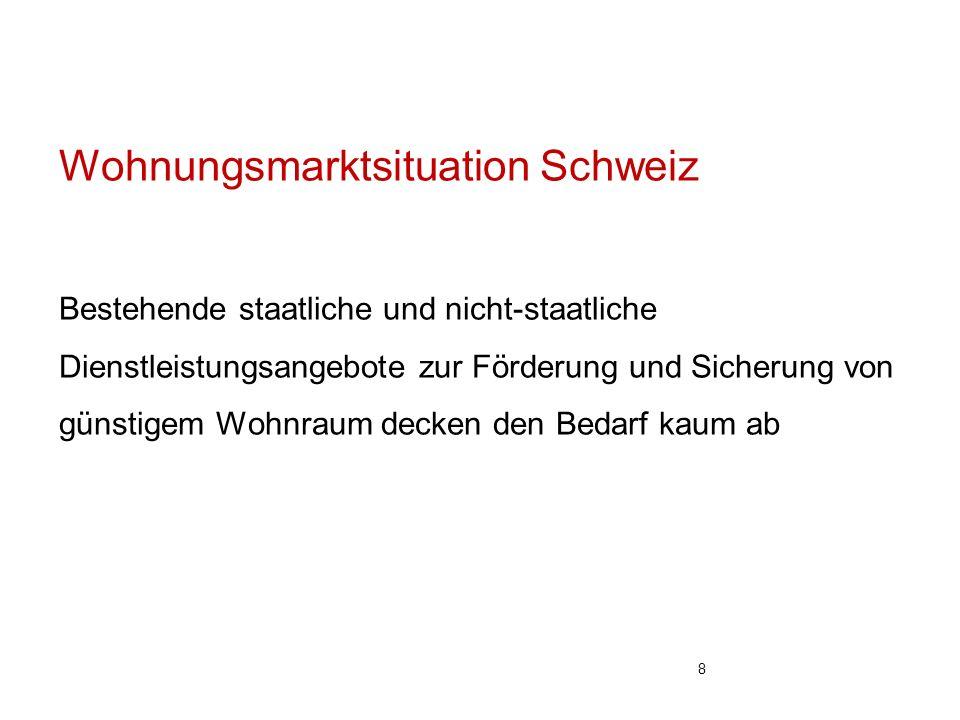 Wohnungsmarktsituation Schweiz Bestehende staatliche und nicht-staatliche Dienstleistungsangebote zur Förderung und Sicherung von günstigem Wohnraum decken den Bedarf kaum ab 8