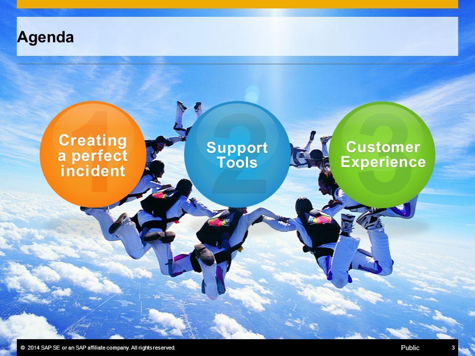 ©2014 SAP SE or an SAP affiliate company. All rights reserved.3 Public 1 Creating a perfect incident 2 Support Tools 3 Customer Experience Agenda
