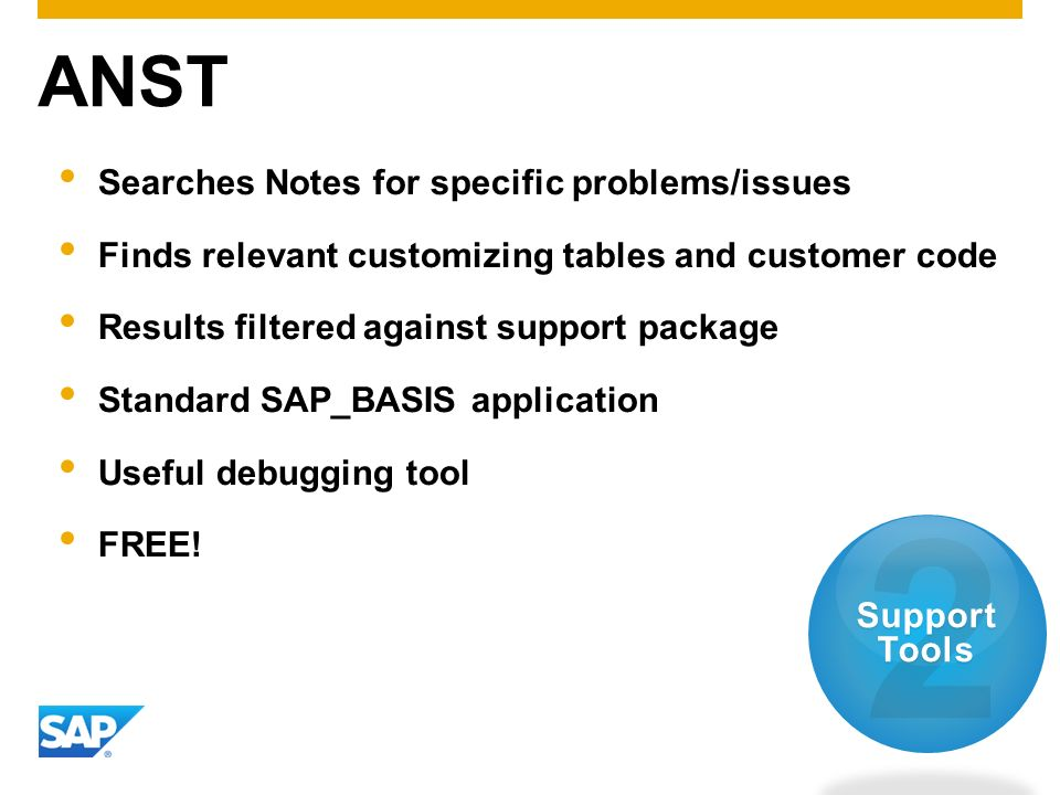 ANST Searches Notes for specific problems/issues Finds relevant customizing tables and customer code Results filtered against support package Standard