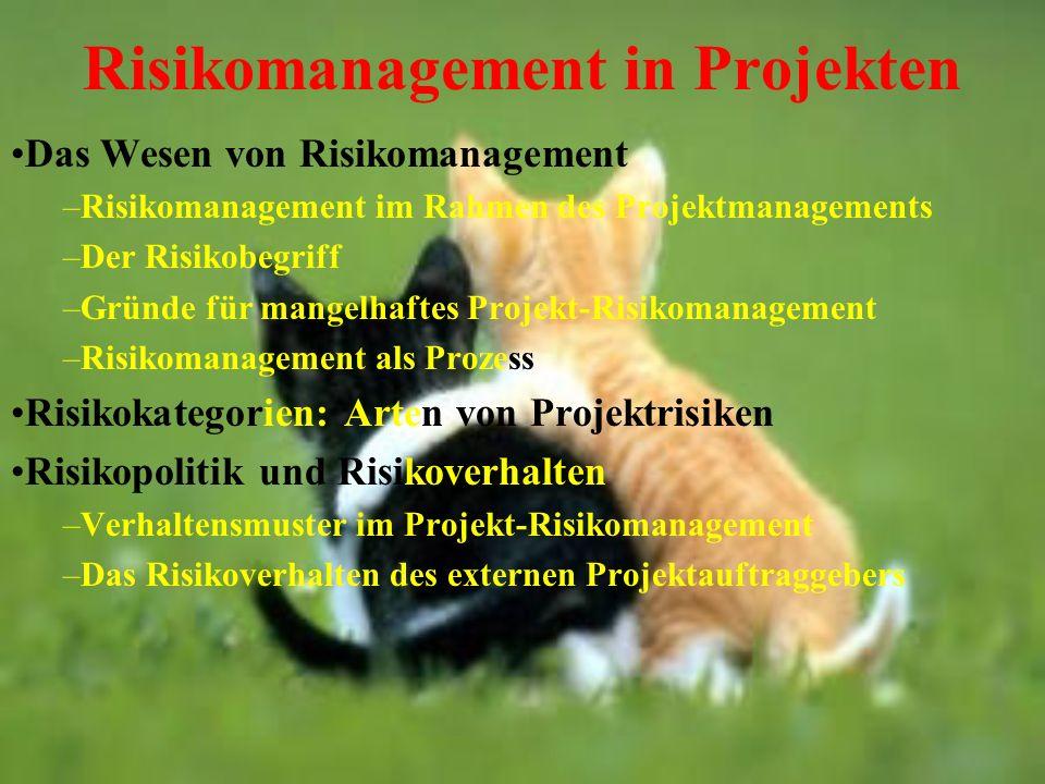 Risikomanagement in Projekten Das Wesen von Risikomanagement –Risikomanagement im Rahmen des Projektmanagements –Der Risikobegriff –Gründe für mangelh