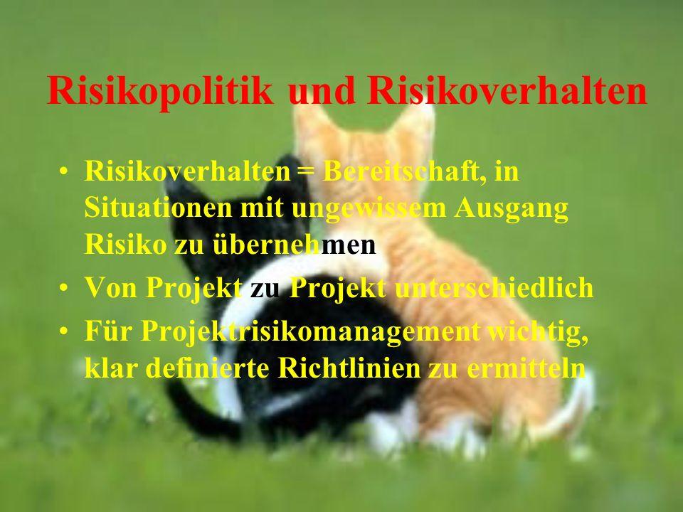 Risikopolitik und Risikoverhalten Risikoverhalten = Bereitschaft, in Situationen mit ungewissem Ausgang Risiko zu übernehmen Von Projekt zu Projekt un