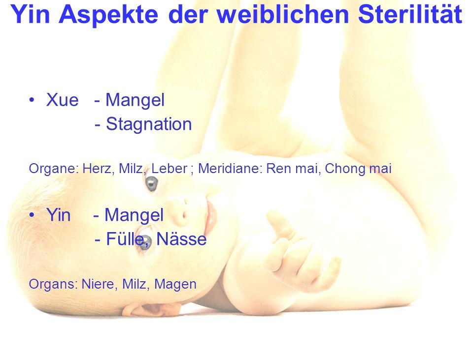 Yin Aspekte der weiblichen Sterilität Xue - Mangel - Stagnation Organe: Herz, Milz, Leber ; Meridiane: Ren mai, Chong mai Yin - Mangel - Fülle, Nässe