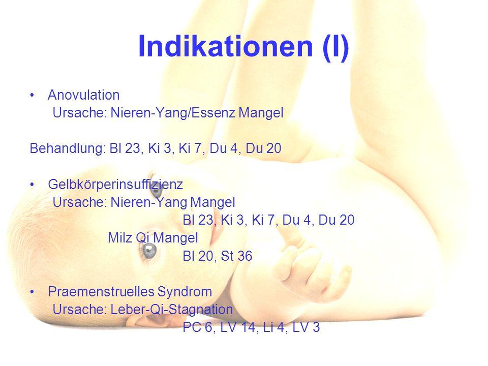 Indikationen (I) Anovulation Ursache: Nieren-Yang/Essenz Mangel Behandlung: Bl 23, Ki 3, Ki 7, Du 4, Du 20 Gelbkörperinsuffizienz Ursache: Nieren-Yang