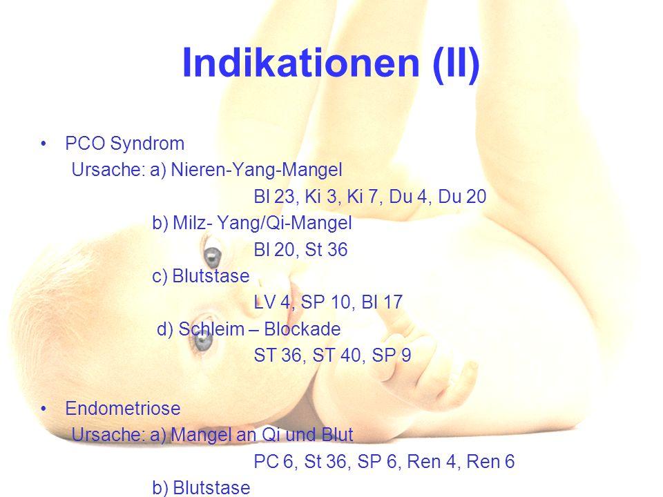 Indikationen (II) PCO Syndrom Ursache: a) Nieren-Yang-Mangel Bl 23, Ki 3, Ki 7, Du 4, Du 20 b) Milz- Yang/Qi-Mangel Bl 20, St 36 c) Blutstase LV 4, SP