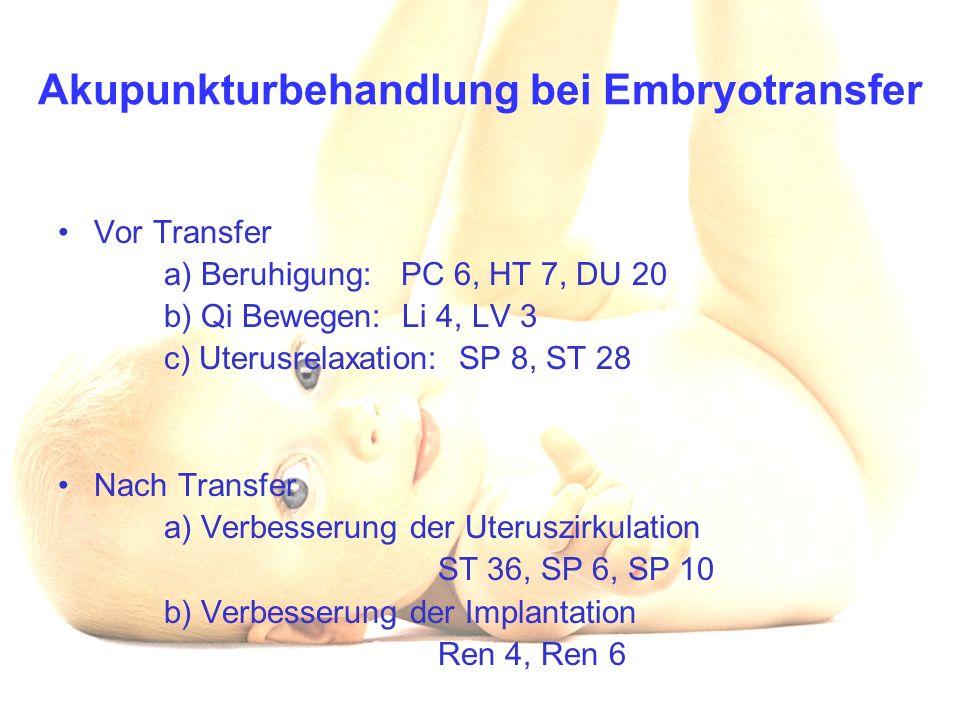 Akupunkturbehandlung bei Embryotransfer Vor Transfer a) Beruhigung: PC 6, HT 7, DU 20 b) Qi Bewegen: Li 4, LV 3 c) Uterusrelaxation: SP 8, ST 28 Nach