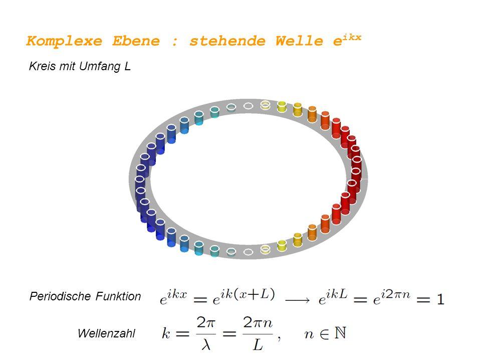 Komplexe Ebene : stehende Welle e ikx Kreis mit Umfang L Wellen mit höherer Wellenzahl (n > N) können auf solche mit geringerer Wellenzahl (n) abgebildet werden