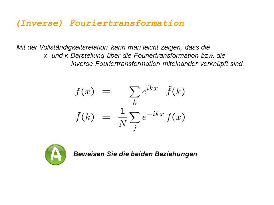 Das Konzept der Fouriertransformation lässt sich auch auf unendliche Bereiche und kontinuierliche x- und k-Werte verallgemeinern (Inverse) Fouriertransformation