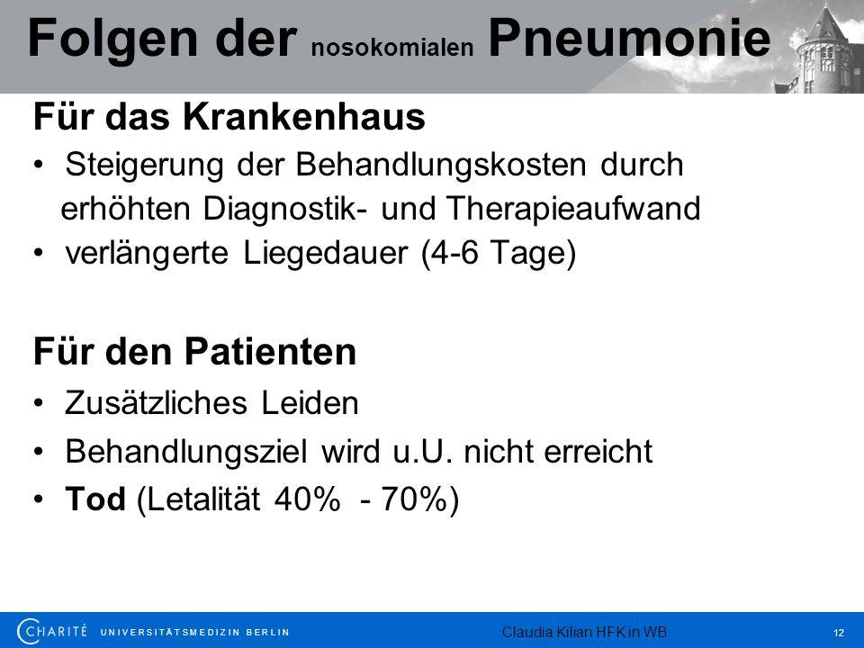 U N I V E R S I T Ä T S M E D I Z I N B E R L I N 12 Folgen der nosokomialen Pneumonie Für das Krankenhaus Steigerung der Behandlungskosten durch erhö