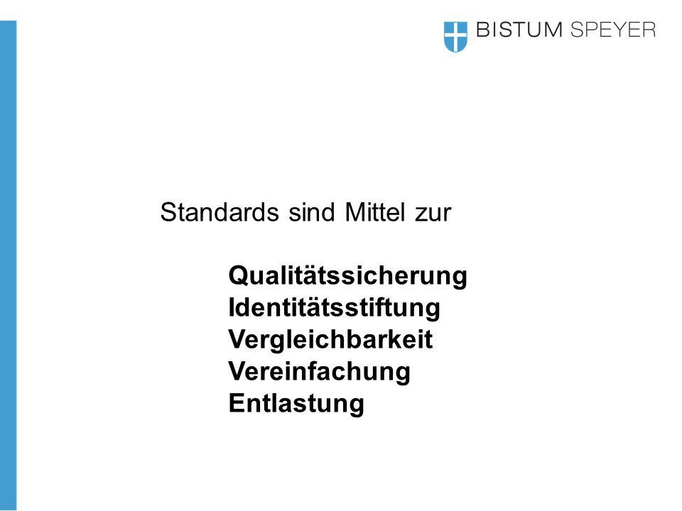 Standards sind Mittel zur Qualitätssicherung Identitätsstiftung Vergleichbarkeit Vereinfachung Entlastung