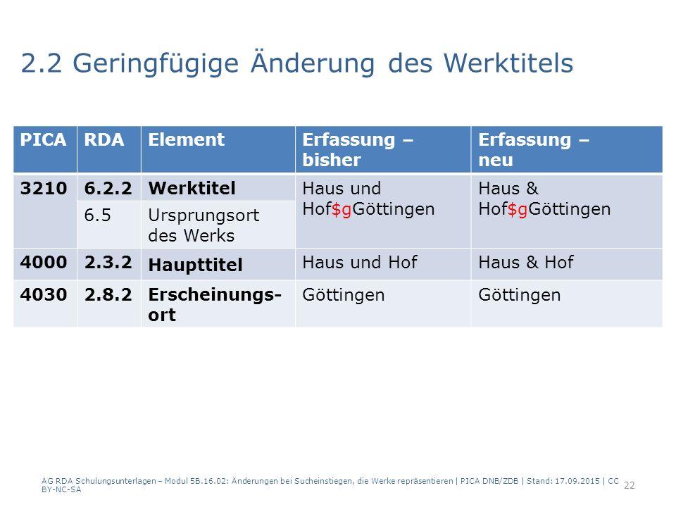 2.2 Geringfügige Änderung des Werktitels AG RDA Schulungsunterlagen – Modul 5B.16.02: Änderungen bei Sucheinstiegen, die Werke repräsentieren | PICA D