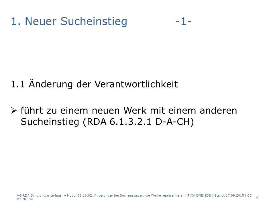 2a) Der bevorzugte Name der Körperschaft ändert sich aber die Änderung führt nicht zu einer neuen Beschreibung für die Körperschaft  Name des Merkmals für das Werk wird aktualisiert  kein neuer normierter Sucheinstieg für das Werk AG RDA Schulungsunterlagen – Modul 5B.16.02: Änderungen bei Sucheinstiegen, die Werke repräsentieren | PICA DNB/ZDB | Stand: 17.09.2015 | CC BY-NC-SA 15