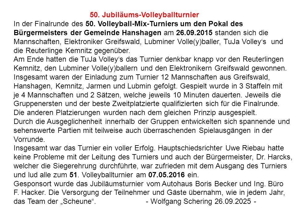 50. Jubiläums-Volleyballturnier In der Finalrunde des 50. Volleyball-Mix-Turniers um den Pokal des Bürgermeisters der Gemeinde Hanshagen am 26.09.2015