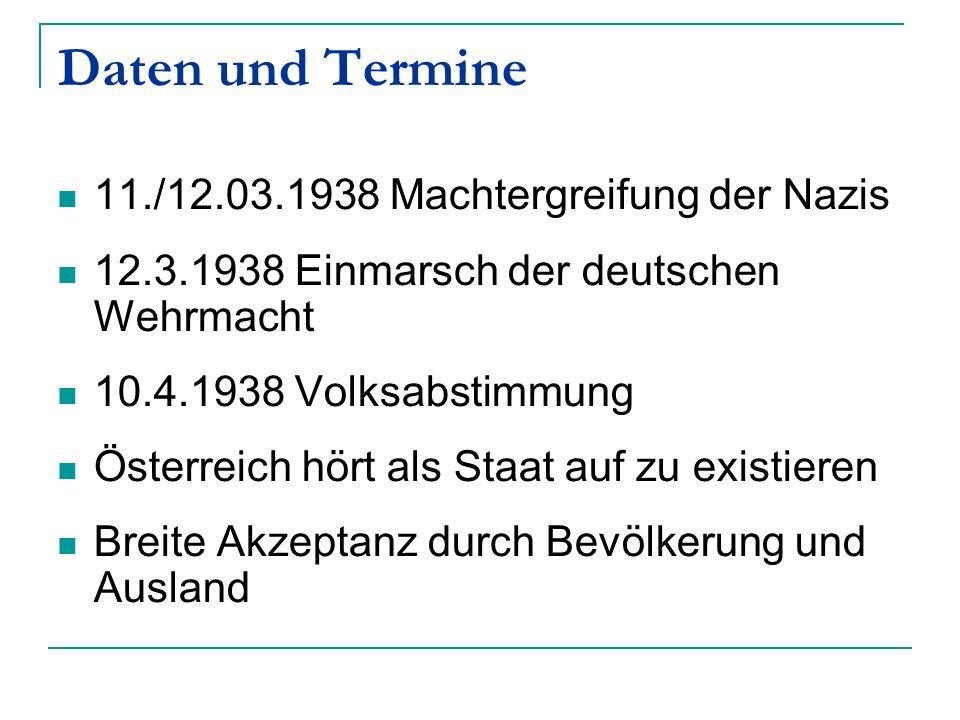 Daten und Termine 11./12.03.1938 Machtergreifung der Nazis 12.3.1938 Einmarsch der deutschen Wehrmacht 10.4.1938 Volksabstimmung Österreich hört als S