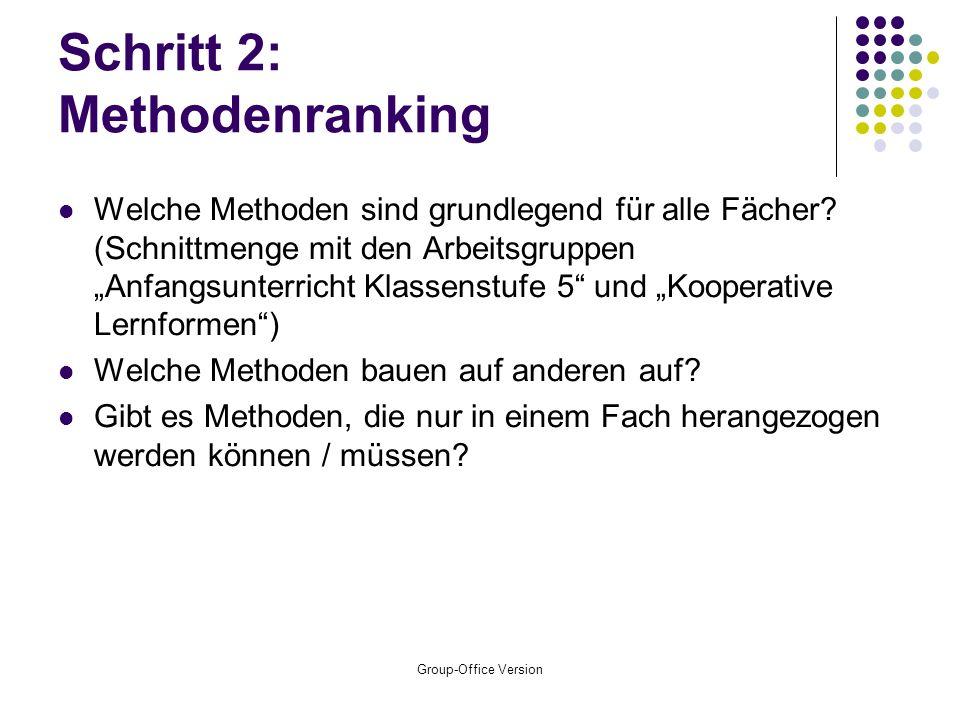Group-Office Version Schritt 2: Methodenranking Welche Methoden sind grundlegend für alle Fächer.