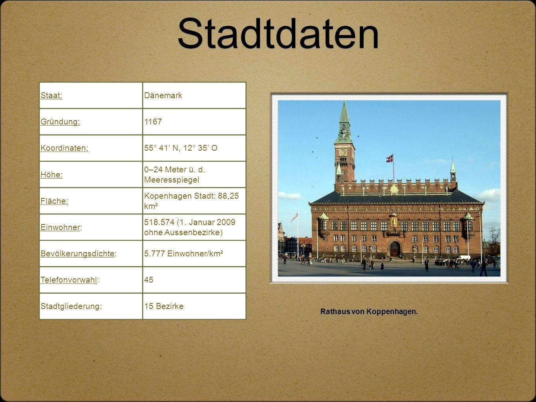 Stadtdaten Rathaus von Koppenhagen. Staat:Dänemark Gründung:1167 Koordinaten:55° 41′ N, 12° 35′ O Höhe: 0–24 Meter ü. d. Meeresspiegel Fläche: Kopenha