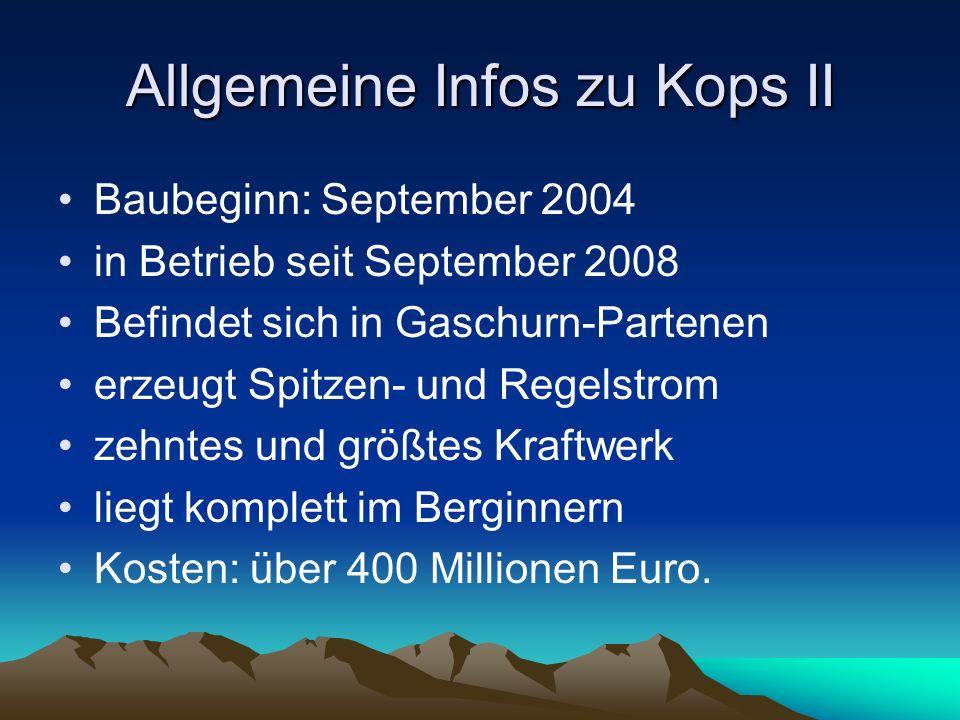 Allgemeine Infos zu Kops II Baubeginn: September 2004 in Betrieb seit September 2008 Befindet sich in Gaschurn-Partenen erzeugt Spitzen- und Regelstrom zehntes und größtes Kraftwerk liegt komplett im Berginnern Kosten: über 400 Millionen Euro.