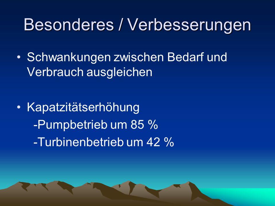 Besonderes / Verbesserungen Schwankungen zwischen Bedarf und Verbrauch ausgleichen Kapatzitätserhöhung -Pumpbetrieb um 85 % -Turbinenbetrieb um 42 %