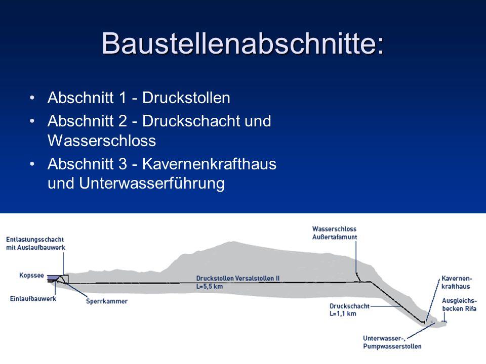 Baustellenabschnitte: Abschnitt 1 - Druckstollen Abschnitt 2 - Druckschacht und Wasserschloss Abschnitt 3 - Kavernenkrafthaus und Unterwasserführung