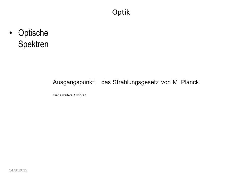 Optik 14.10.2015 Optische Spektren Ausgangspunkt: das Strahlungsgesetz von M. Planck Siehe weitere Skripten
