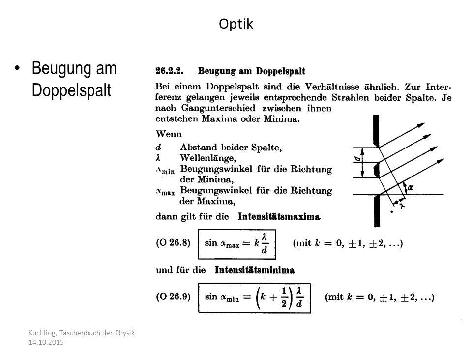 Optik Kuchling, Taschenbuch der Physik 14.10.2015 Beugung am Doppelspalt