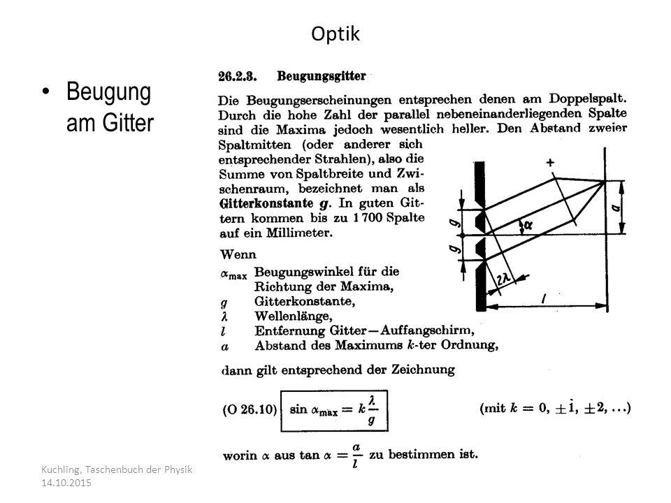 Optik Kuchling, Taschenbuch der Physik 14.10.2015 Beugung am Gitter