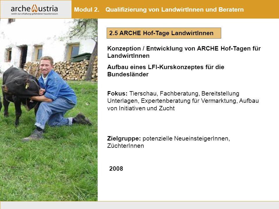 2.5 ARCHE Hof-Tage LandwirtInnen Konzeption / Entwicklung von ARCHE Hof-Tagen für LandwirtInnen Aufbau eines LFI-Kurskonzeptes für die Bundesländer Mo