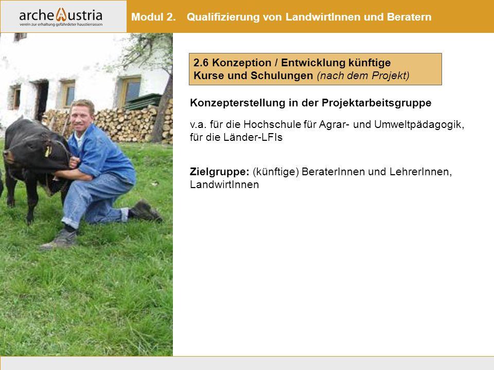2.6 Konzeption / Entwicklung künftige Kurse und Schulungen (nach dem Projekt) Modul 2. Qualifizierung von LandwirtInnen und Beratern v.a. für die Hoch