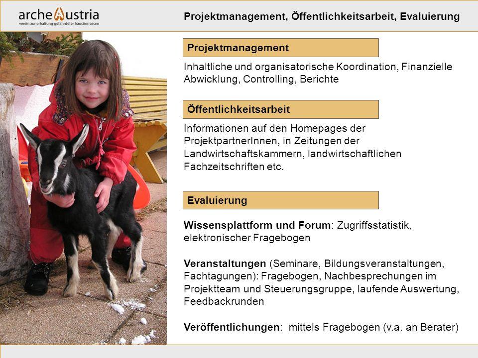 Öffentlichkeitsarbeit Informationen auf den Homepages der ProjektpartnerInnen, in Zeitungen der Landwirtschaftskammern, landwirtschaftlichen Fachzeits
