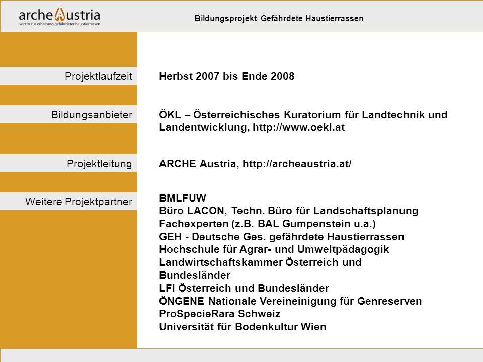 ÖKL – Österreichisches Kuratorium für Landtechnik und Landentwicklung, http://www.oekl.at Bildungsanbieter ARCHE Austria, http://archeaustria.at/Projektleitung Herbst 2007 bis Ende 2008Projektlaufzeit Bildungsprojekt Gefährdete Haustierrassen BMLFUW Büro LACON, Techn.