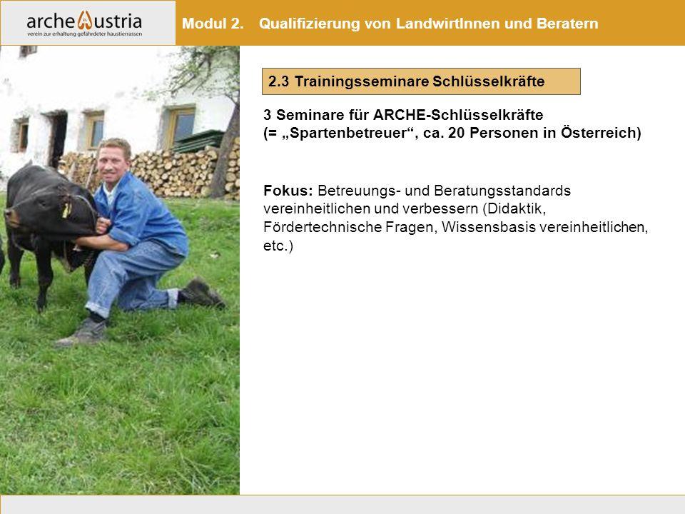 """2.3 Trainingsseminare Schlüsselkräfte 3 Seminare für ARCHE-Schlüsselkräfte (= """"Spartenbetreuer"""", ca. 20 Personen in Österreich) Modul 2. Qualifizierun"""