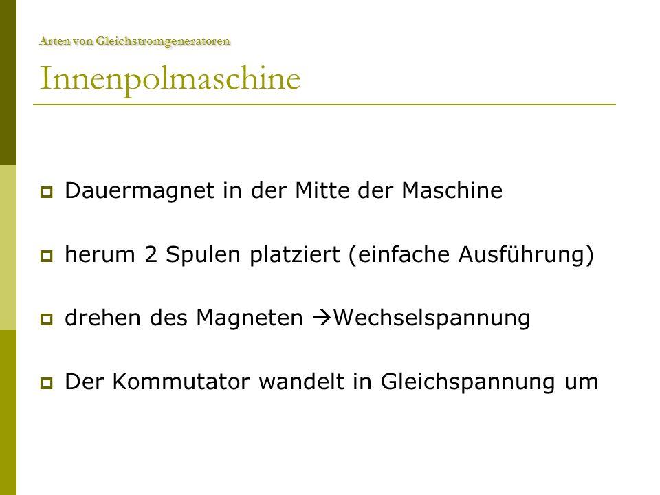 Arten von Gleichstromgeneratoren Arten von Gleichstromgeneratoren Innenpolmaschine  Dauermagnet in der Mitte der Maschine  herum 2 Spulen platziert (einfache Ausführung)  drehen des Magneten  Wechselspannung  Der Kommutator wandelt in Gleichspannung um